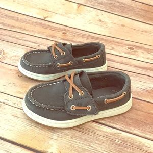 Toddler sperry boat shoes. Dark grey. Worn once